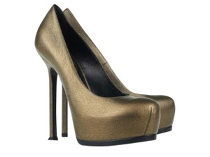 Saint Laurent Gold Bronze Platforms
