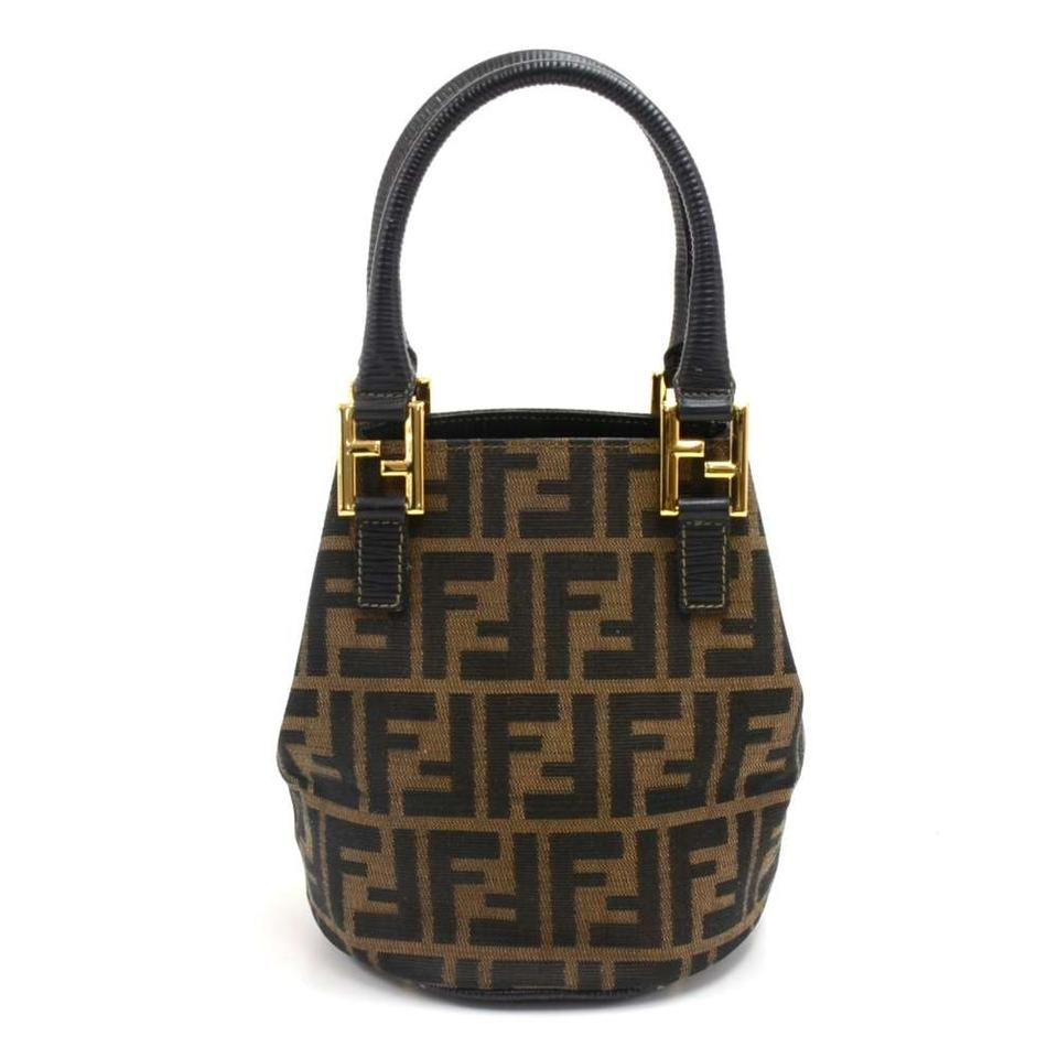 e78ab20477b Fendi Bucket Vintage Tobacco Zucca Monogram Mini Brown Canvas Shoulder Bag