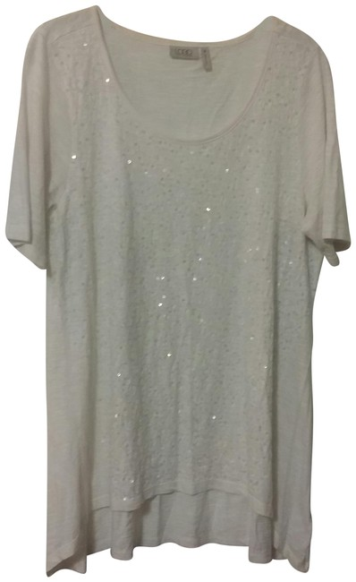 Item - White Sequin Short Sleeve Tunic Size 10 (M)