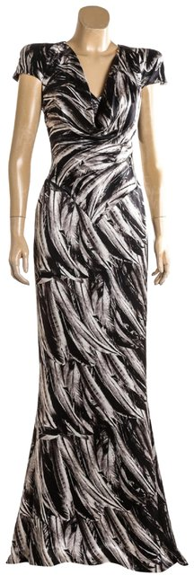 Item - Black and White Gray Print Silk Gown 40) 109165 Long Casual Maxi Dress Size 4 (S)