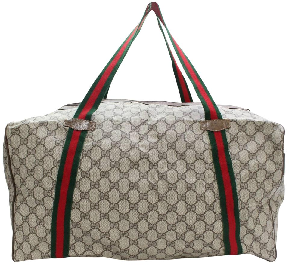 199d3269a161 Gucci  ebay Sold  Supreme Monogam Gg Web Duffle 867657 Brown Coated ...