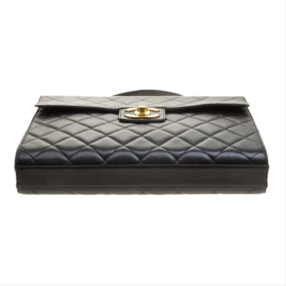 474f847b01b7c3 Chanel Classic Flap Quilted Vintage Top Handle Briefcase Black ...