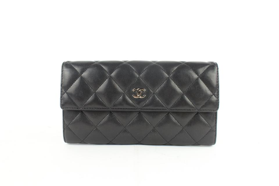 3d5e2186bef799 Chanel Classic Flap L Quilted L-gusset Wallet 9cz0911 Black Leather ...