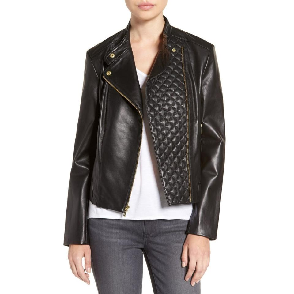Cole Haan Black Quilted Leather Motorcycle Jacket Size 12 L Tradesy