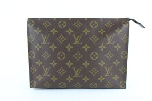 Louis Vuitton Poche Pouch Toiletry Cosmetic Make Up Brown Clutch