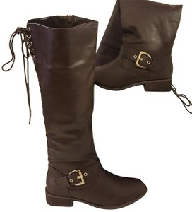 Bucco Bliss Lace Up Buckle Brown Boots