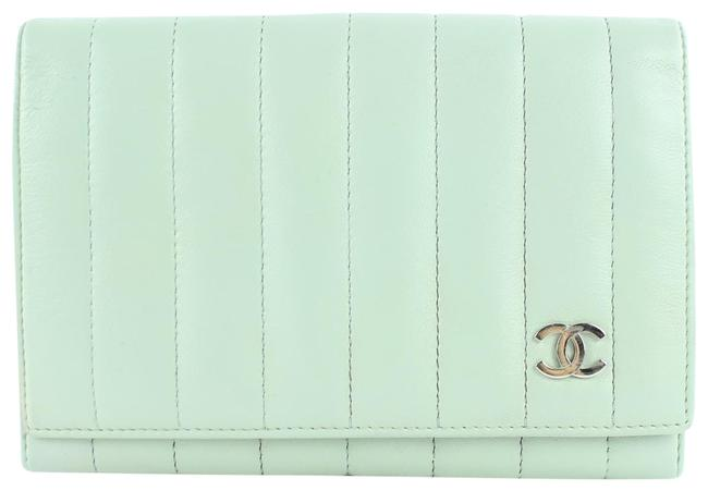Item - Seafoam Vertical Quilted Wallet 21cz0907 Green Leather Clutch