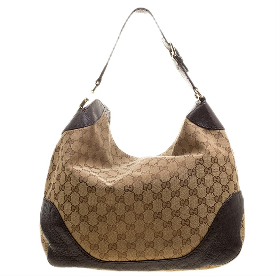 31e0633e4 Gucci Beige/Brown Gg Canvas Medium Charlotte Beige Fabric and Leather Hobo  Bag - Tradesy