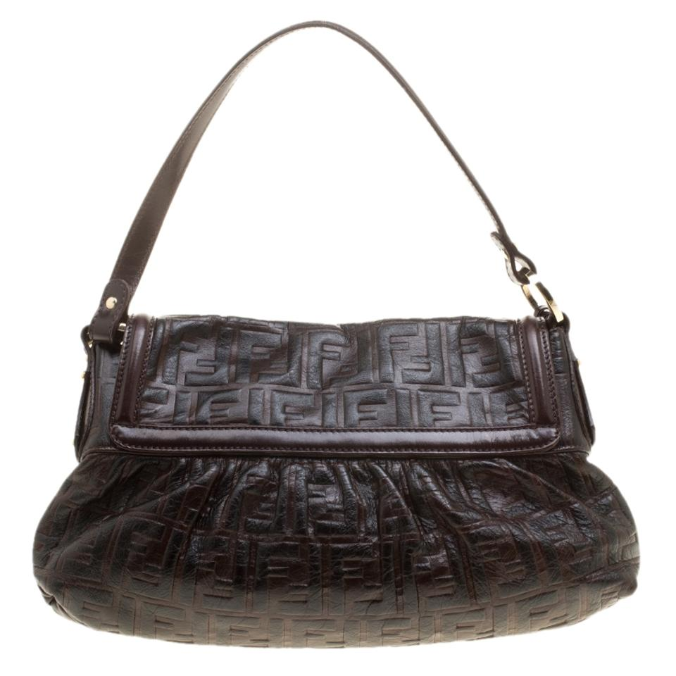 8a9bf26d9ad8 Fendi Dark Zucca Embossed Chef Brown Leather   Fabric Shoulder Bag ...