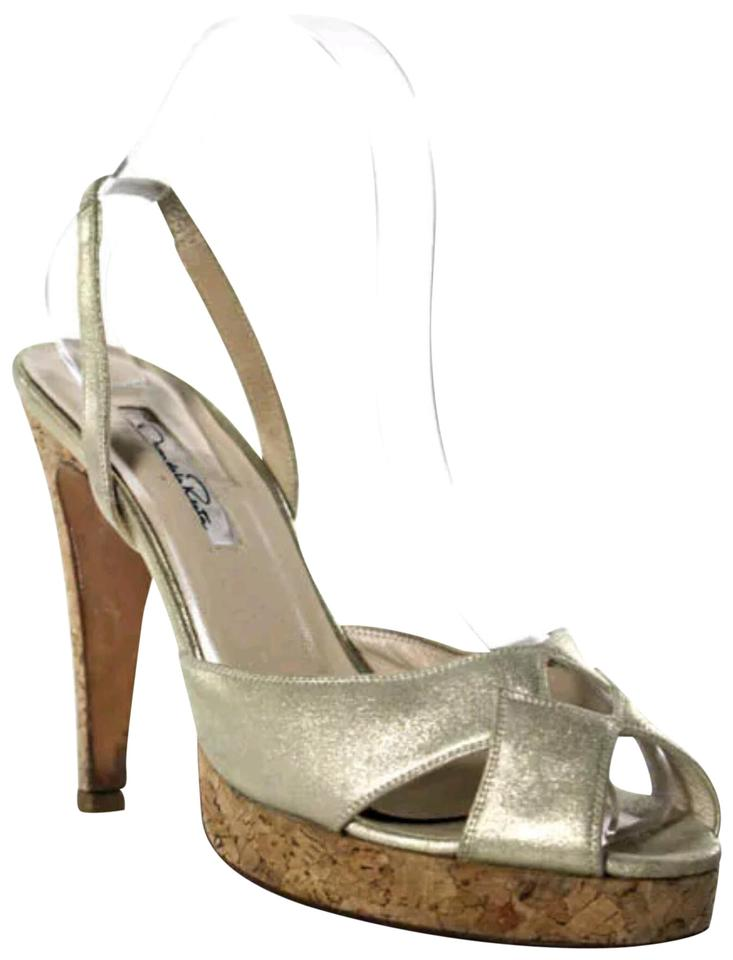 23a20285a703 Oscar de la Renta Gold Leather Open Toe Tall Stiletto Pumps 7.5 ...