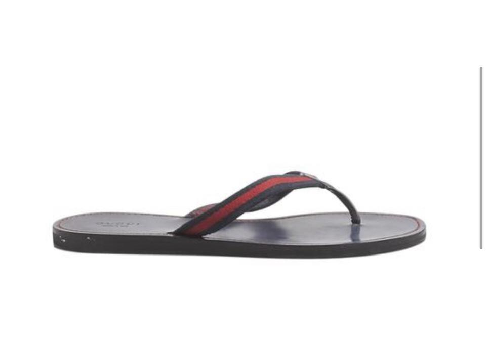 40532636931a Gucci Blue and Red Web Leather Flip Flops Sandals Size EU 39 (Approx. US 9)  Regular (M