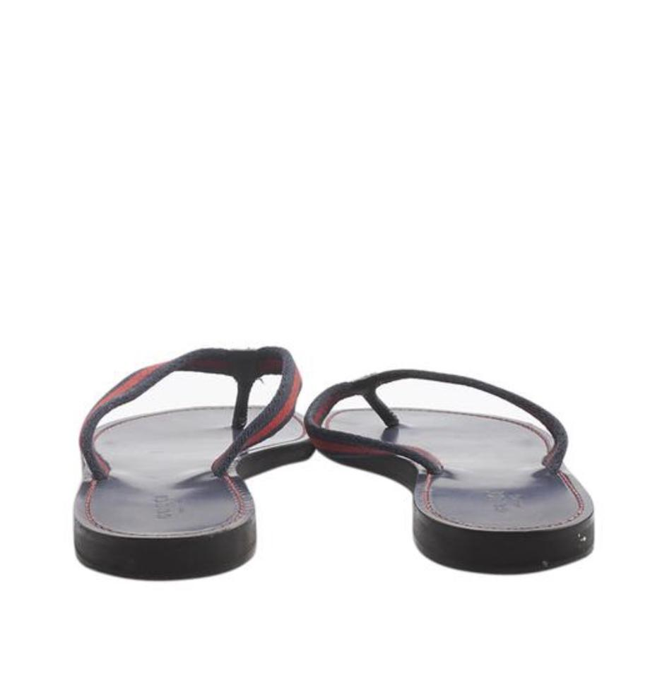 3e50f0f1487f Gucci Blue and Red Web Leather Flip Flops Sandals Size EU 39 (Approx ...
