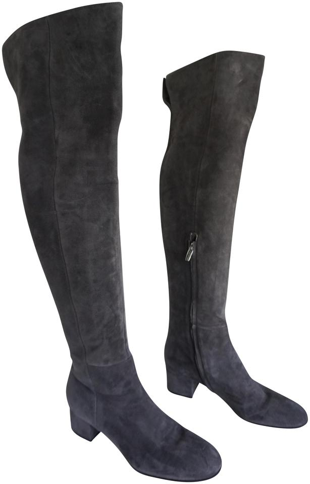 e3f8d05cf87 Gianvito Rossi Gray Suede Over-the Knee Suede Boots Booties Size EU ...