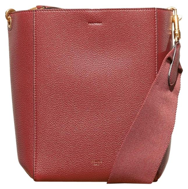 Céline Bucket Bag Sangle Small In Soft Grained Calfskin Ruby Leather Tote Céline Bucket Bag Sangle Small In Soft Grained Calfskin Ruby Leather Tote Image 1