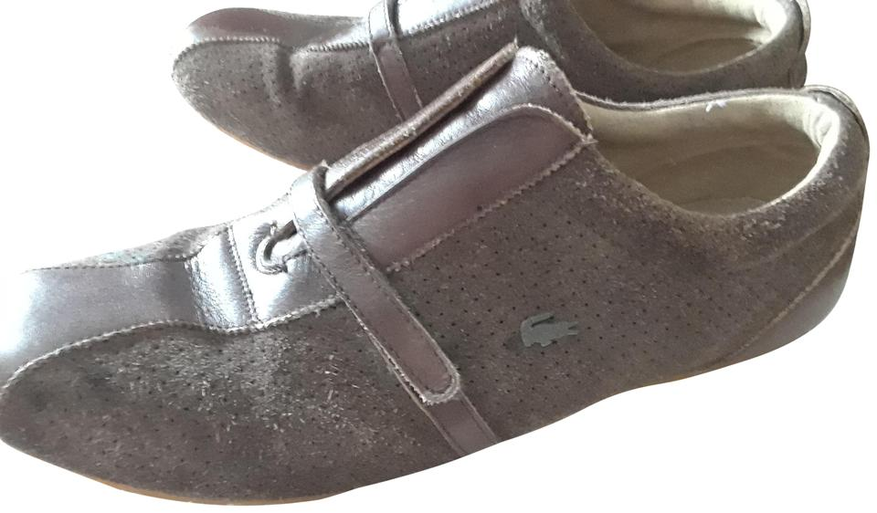 f6339bc7f2fe8 Lacoste Brown Men s Thea Mix Leather and Suede Walking Sneakers Size ...
