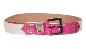 Dolce&Gabbana Fuchsia Leather Canvas Square Buckle Belt
