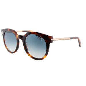 96d9bf0c749 Tom Ford Round Unisex TF0435 52P plastic Blue Gradient Lens Sunglasses