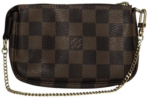 Louis Vuitton Lv Pochette Pochette Accessories Damier Canvas Wristlet in Brown