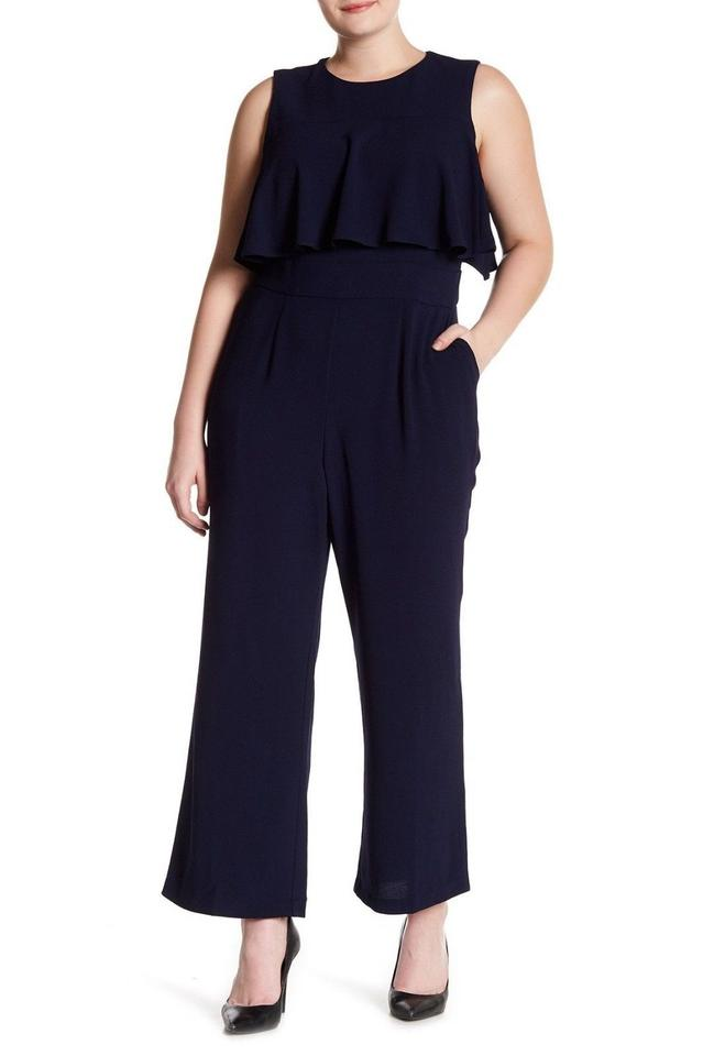 Vince Camuto Navy Crepe Ruffle Bodice Romper/Jumpsuit 40% off retail
