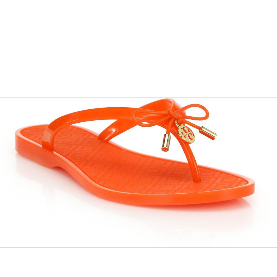 546ed6420adc Tory Burch Poppy Orange Jelly Bow Logo-charm Thong Sandals Size US 9 ...