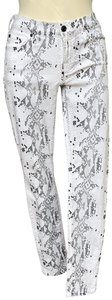 """7 For All Mankind Snakeskin Print Rise 8.25"""" Inseam 30"""" Skinny Jeans-Coated"""
