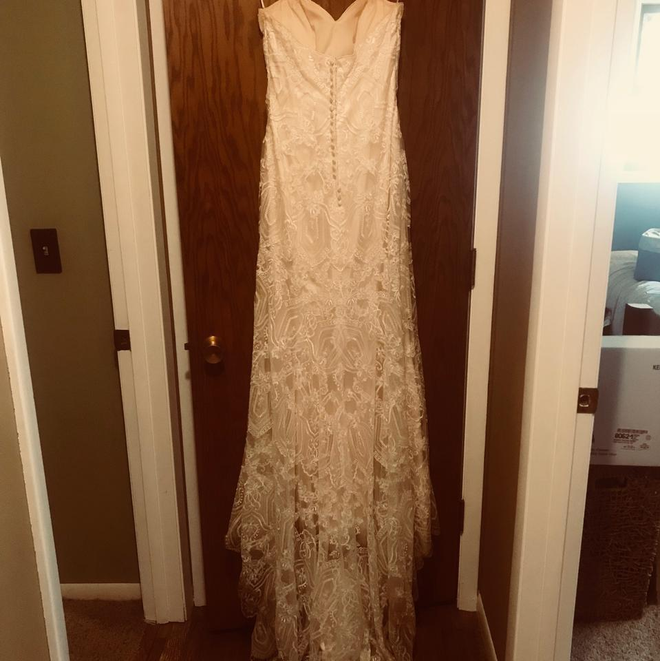 Maggie Sottero Ivory Lace With Light Gold Underlay Polyester Fredricka Casual Wedding Dress Size 8