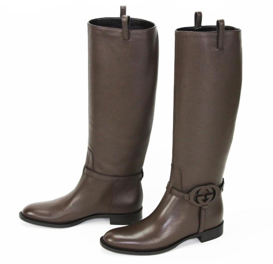 cb46ae45f Gucci Brown Calf Leather 3-d Interlocking Gg Riding Tall Boots/Booties