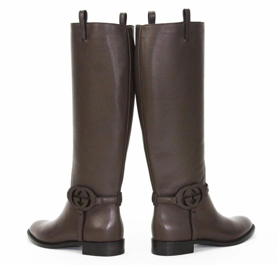 ea52d9190 Gucci Brown Calf Leather 3-d Interlocking Gg Riding Tall Boots ...