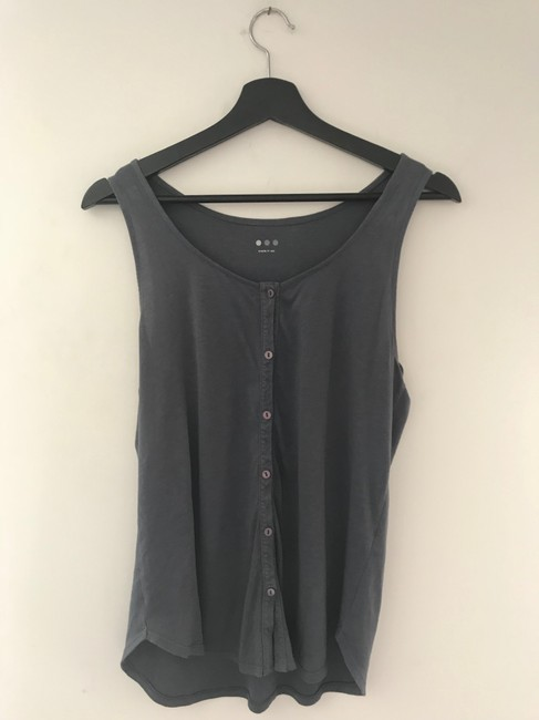Three Dots Gray Button Tank Top/Cami Size 4 (S) Three Dots Gray Button Tank Top/Cami Size 4 (S) Image 2