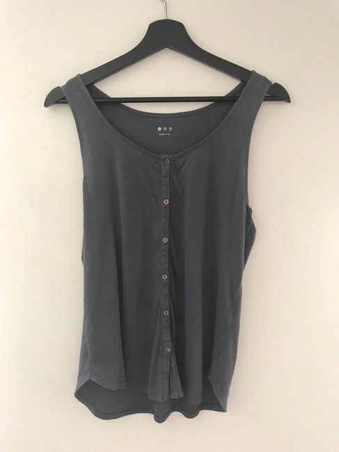 Three Dots Gray Button Tank Top/Cami Size 4 (S) Three Dots Gray Button Tank Top/Cami Size 4 (S) Image 3