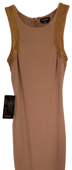 Item - Tan with Gold Embellishments Mid-length Night Out Dress Size 2 (XS)