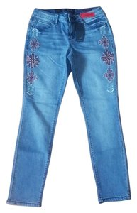 Earl Jean Embroidered Skinny Jeans-Medium Wash
