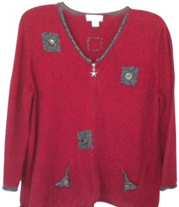 Christopher & Banks Cardigan Anchor Buttons Nautical Full Zip Sweater