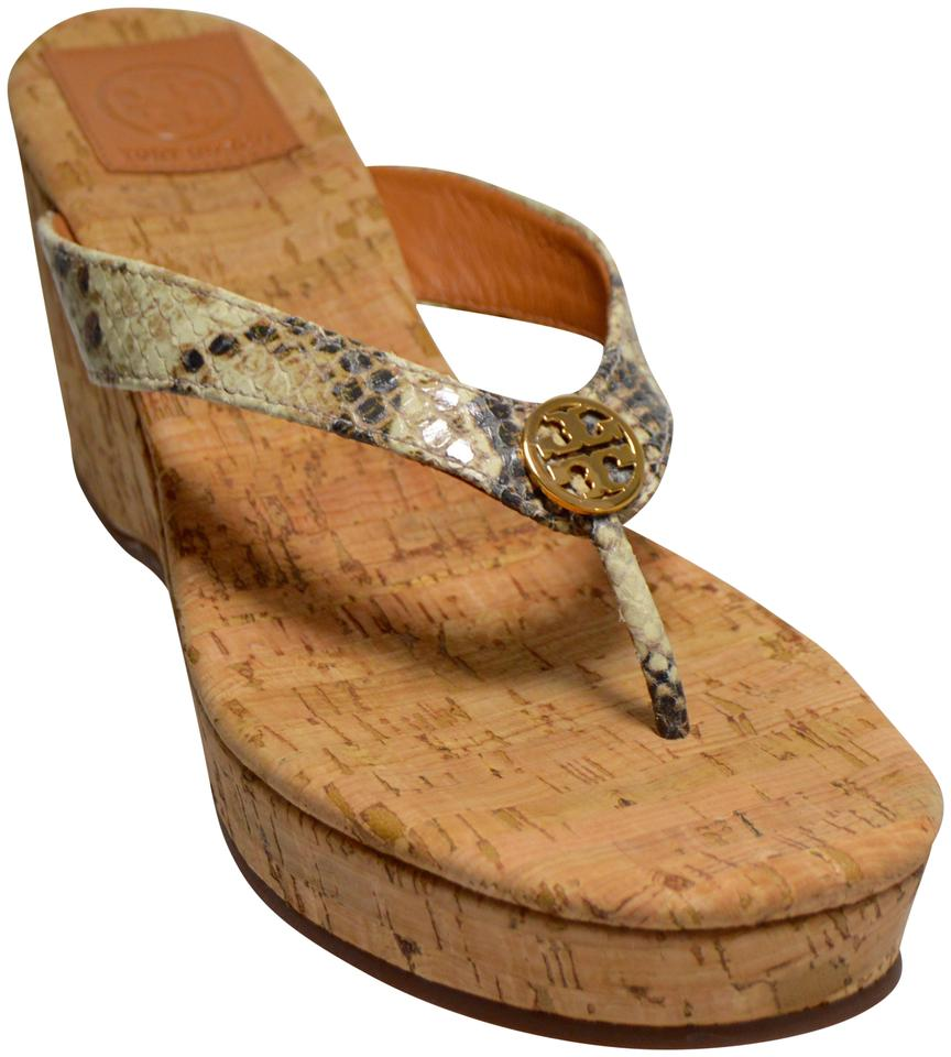 4ed4a08ad352 Tory Burch Python Suzy Thong Wedge New In Box Snake Print Sandals Image 0  ...