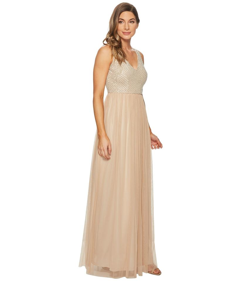 Adrianna Papell Champagne Embellished Mesh Gown Long Formal Dress ...