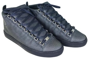 Balenciaga Cracked Print Leather High Top Sneakers Arena Blue Athletic