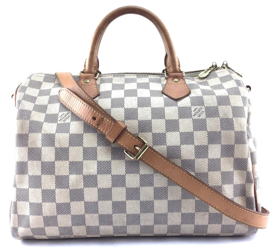 8e8656038d69 Louis Vuitton Speedy  22066 with Strap 30 Bandouliere Satchel Cross Body Damier  Azur Canvas and Vachetta Leather Shoulder Bag