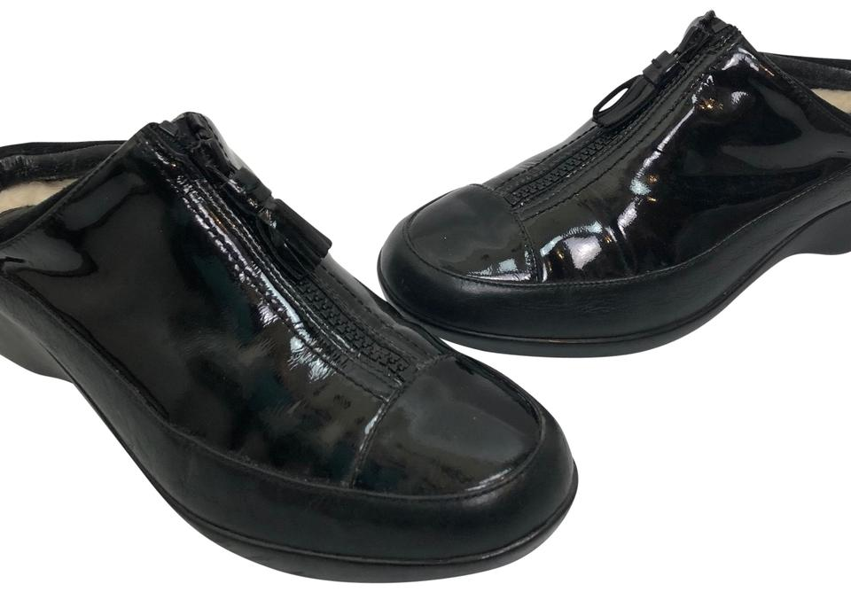 bbe4cb0adf6 Cole Haan Black Women s Patent Leather Front Zipper Waterproof Mules ...