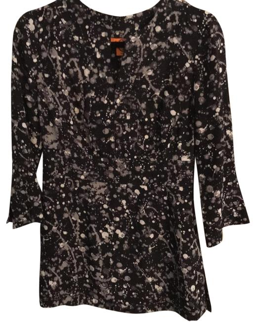 Item - Black Grey and White Silk Tunic Size 4 (S)