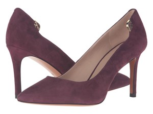 Tory Burch Maroon Port Suede Leather Wine Red Pumps
