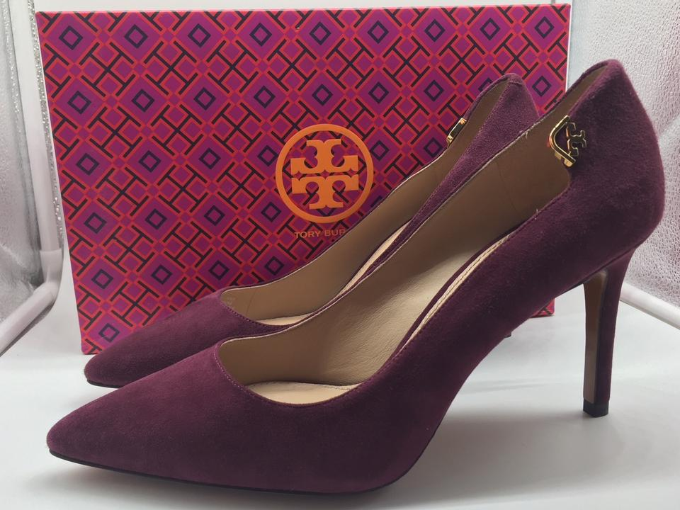 25a1142a88a4 Tory Burch Maroon Port Suede Leather Wine Red Pumps Image 8. 123456789. 1 ∕  9