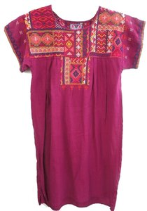 Johnny Was Vented Hem Bold Embroidery Shift / Short Dolman Sleeves Cool Linen Tunic