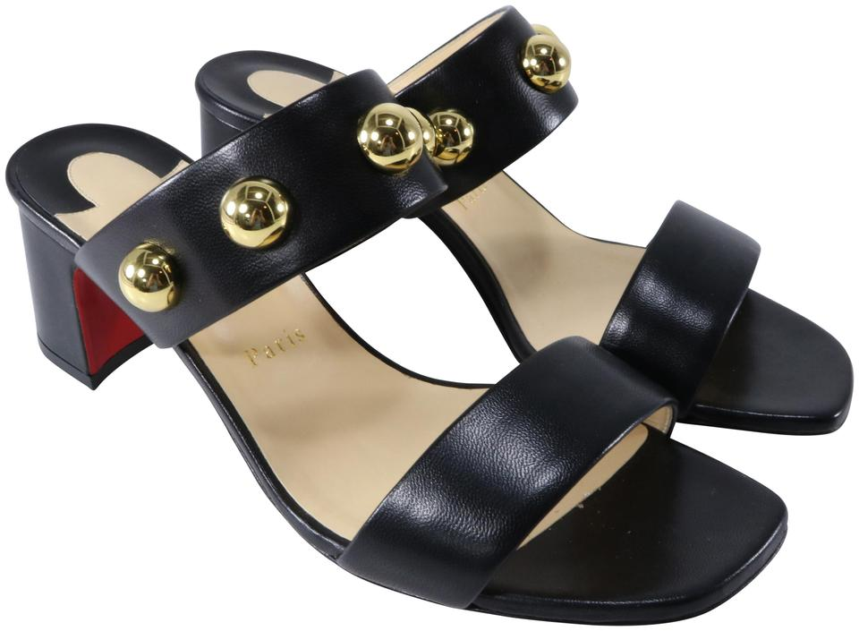 online retailer d6a14 c319b Christian Louboutin Black Simple Bille 55mm Gold Studded Nappa A994 Sandals  Size EU 40 (Approx. US 10) Regular (M, B) 19% off retail