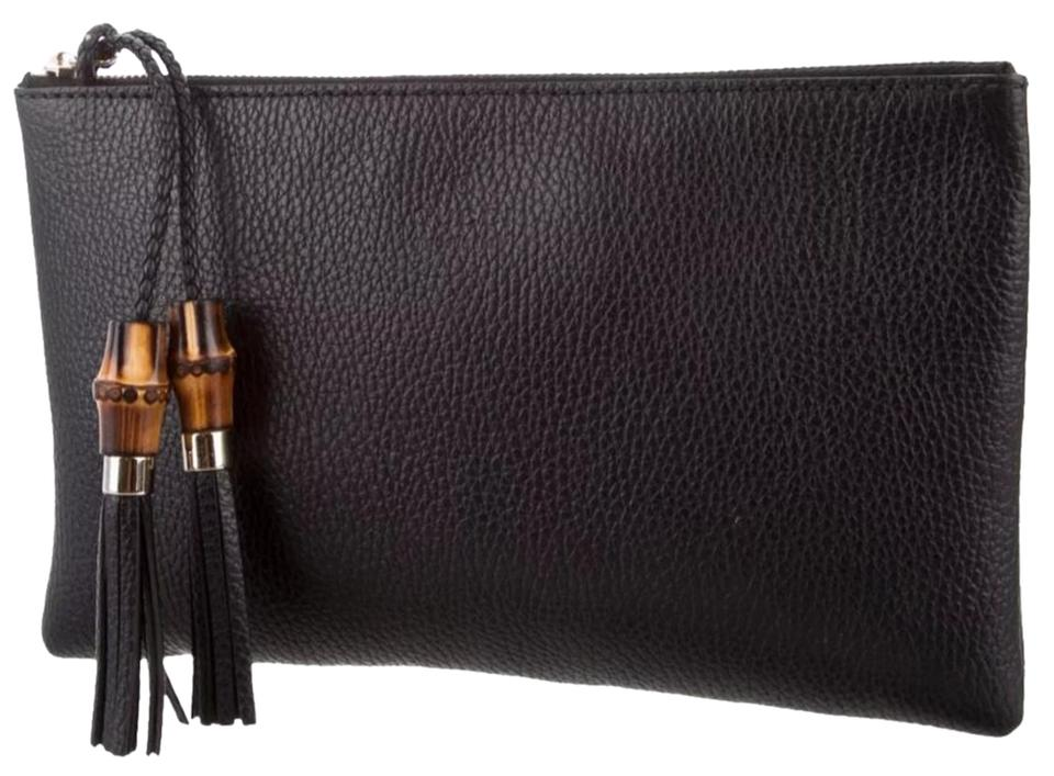 3f6865fc9 Gucci Bamboo Tassel Black Leather Clutch - Tradesy