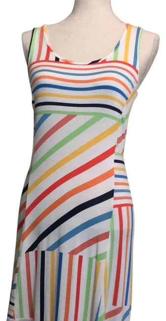 Item - Multicolored Of Orange Yellow Blue Bronze and Navy On Cream Background. Cream See Thru Panels At Bottom. Psfno409 Long Casual Maxi Dress Size 6 (S)