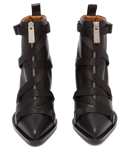 Chloé Ankle Leather Ankle Black Boots