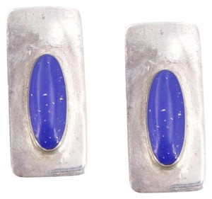 unknown VTG Sterling Silver - MEXICO Modernist Lapis Tapered Earrings - 5g