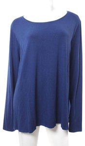Eileen Fisher Plus Size Long Sleeve Stretch T Shirt Blue