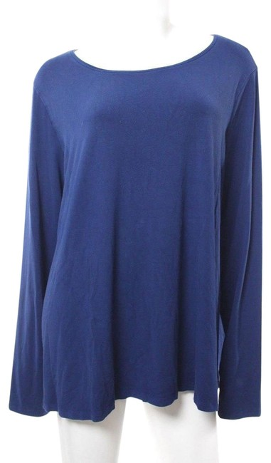 Preload https://item1.tradesy.com/images/eileen-fisher-blue-long-sleeve-stretch-tee-shirt-size-26-plus-3x-24009165-0-1.jpg?width=400&height=650