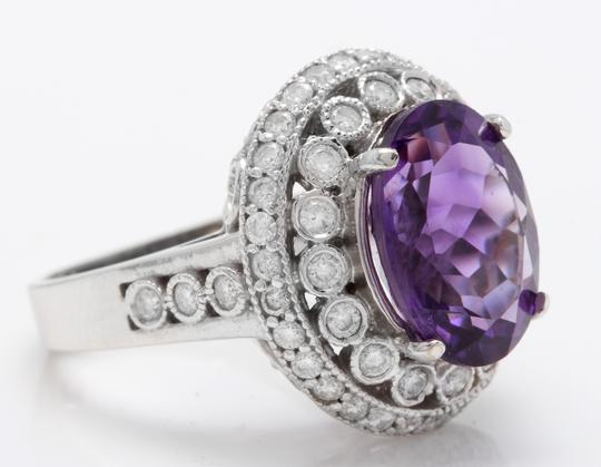 Other 8.90CTW Natural Amethyst and Diamond in 14K White Gold Women Ring